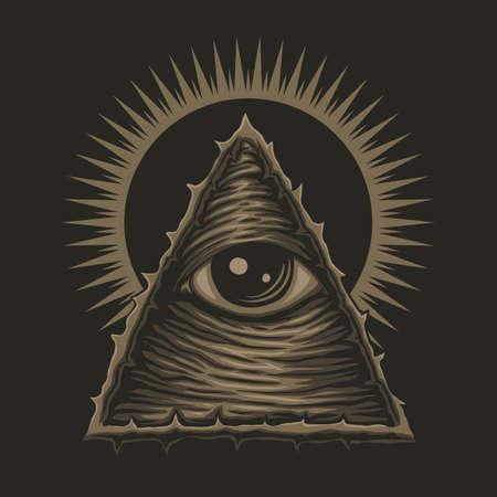 one eye illuminati vector illustration for your company or brand