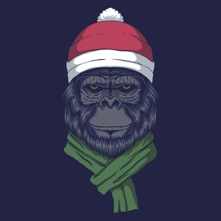 Gorilla wearing a santa hat for christmas vector illustration for your company or brand 向量圖像