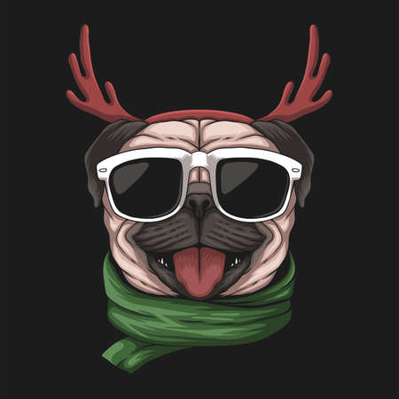 Pug dog wearing a santa hat for christmas vector illustration for your company or brand