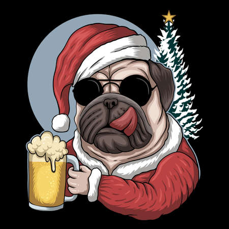 Pug dog beer wearing a santa costume for christmas vector illustration for your company or brand 向量圖像