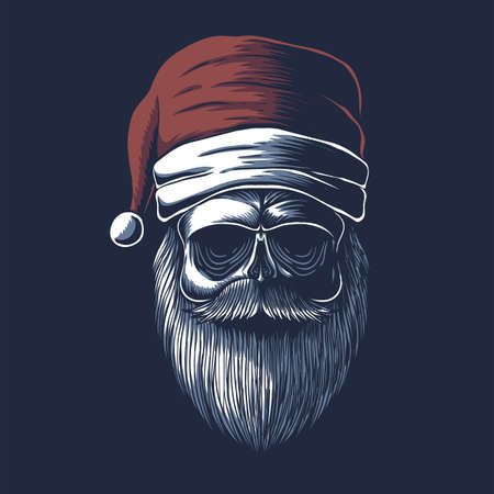 Skull wearing a santa hat for christmas vector illustration for your company or brand