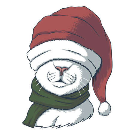 Cat wearing a santa hat for christmas vector illustration for your company or brand 向量圖像