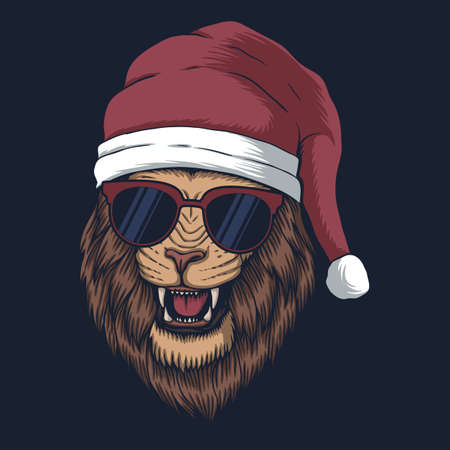 Lion wearing a santa hat for christmas vector illustration for your company or brand