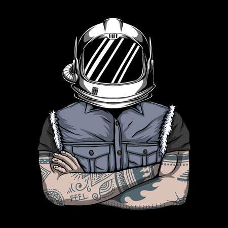 Man helmet astronaut vector illustration for your company or brand 向量圖像