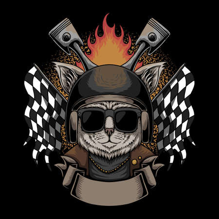 Cat Helmet motorcycle vector illustration for your company or brand 向量圖像