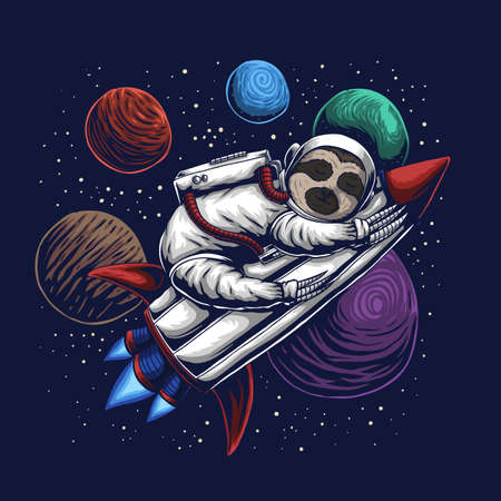 Sloth astronaut vector illustration for your company or brand