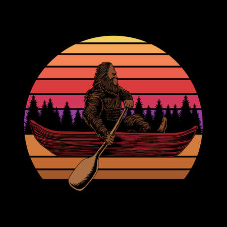 Bigfoot canoe sunset retro vector illustration for your company or brand