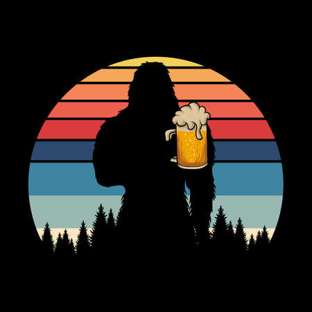 Bigfoot silhouette beer retro vector illustration for your company or brand 向量圖像