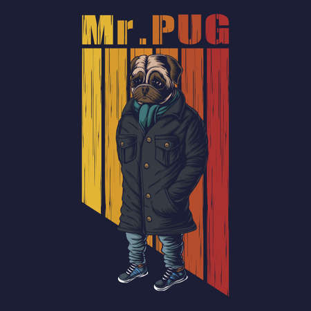 Pug dog fashion vector illustration for your company or brand