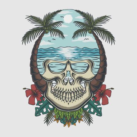 Skull beach tropical vector illustration for oyur company or brand
