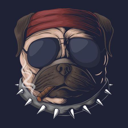 Pug dog head smoke vector illustration for your company or brand