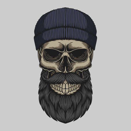 Skull bearded mustache head vector illustration for your company or brand