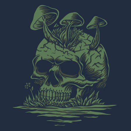 Skull mushrooms in river vector illustration for your company or brand 向量圖像