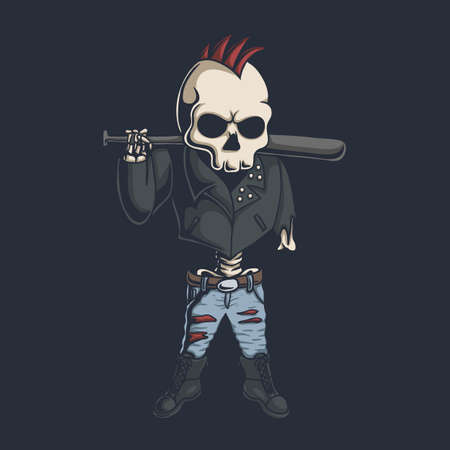Punk skull illustration for your company or brand