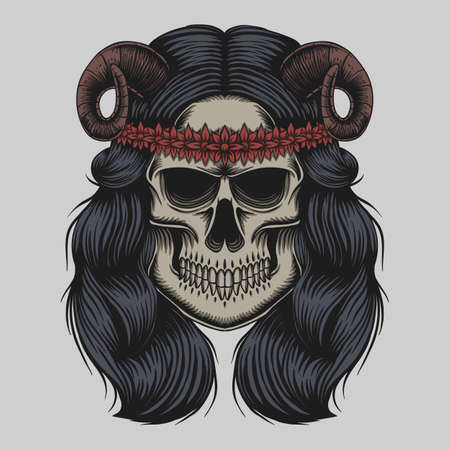 Skull demon girl vector illustration for your company or brand