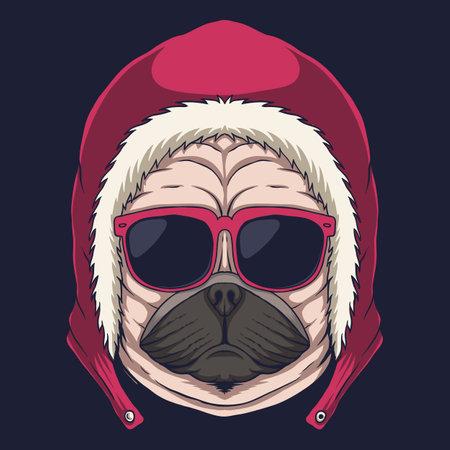 Pug dog head eyeglasses vector illustration for your company or brand 向量圖像