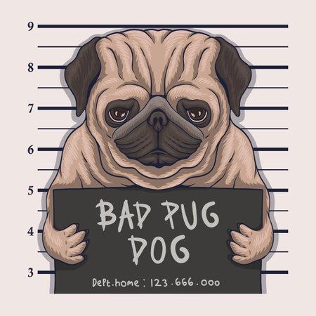 Bad pug dog crime vector illustration for your company or brand 向量圖像