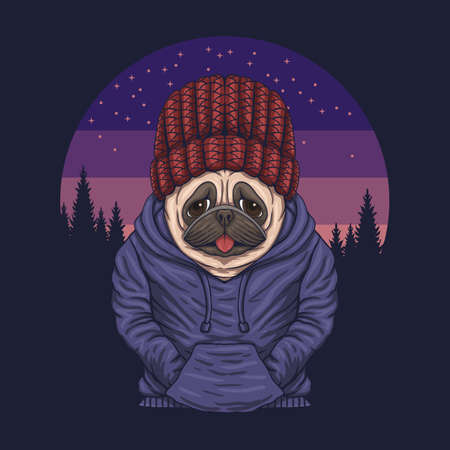 Pug dog night vector illustration for your company or brand