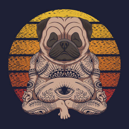 Yoga Pug dog sunset retro vector illustration for your company or brand