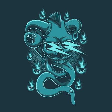 Skull demon thunder vector illustration for your company or brand