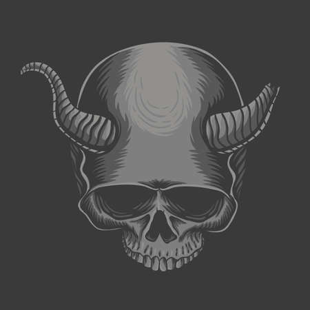 Skull horned devil vector illustration for your company or brand