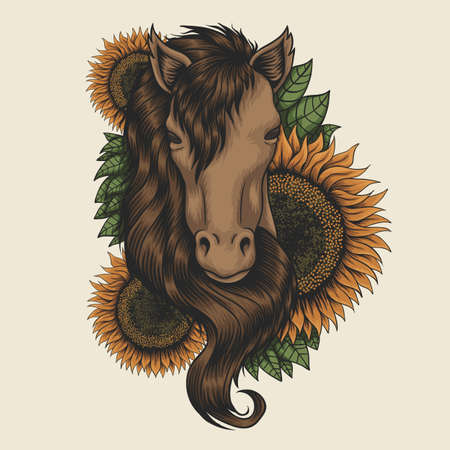 Horse head sunflower vector illustration for your company or brand 向量圖像