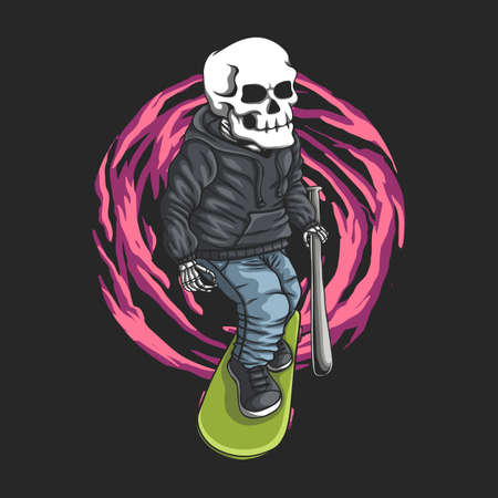 Skull skateboard vector illustration for your company or brand 向量圖像