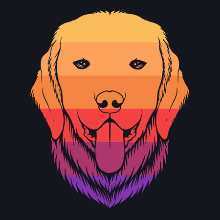 Dog golden retriever retro colorful illustration for your company or brand 向量圖像