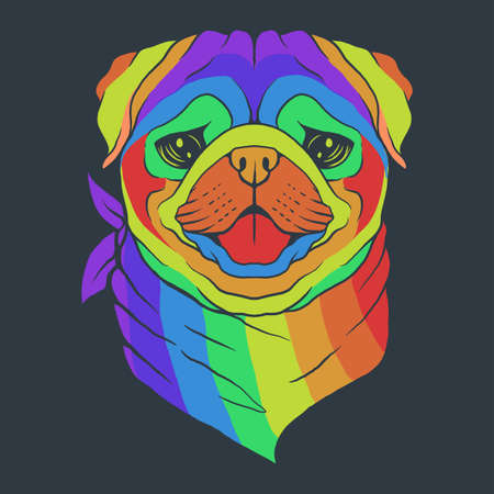 Pug dog head colorful vector illustration for your company or brand