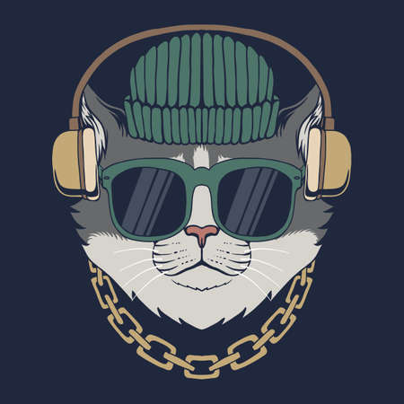 Cat headphones vector illustration for your company or brand