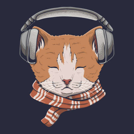 Cat headphone listen music vector illustration for your company or brand