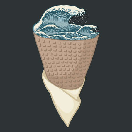 Ice cream wave sea illustration for your company or brand