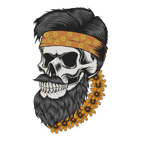 Skull beard mustache flower vector illustration for your company or brand 向量圖像