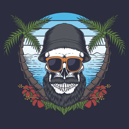 Skull beard mustache beach vector illustration for your company or brand 向量圖像