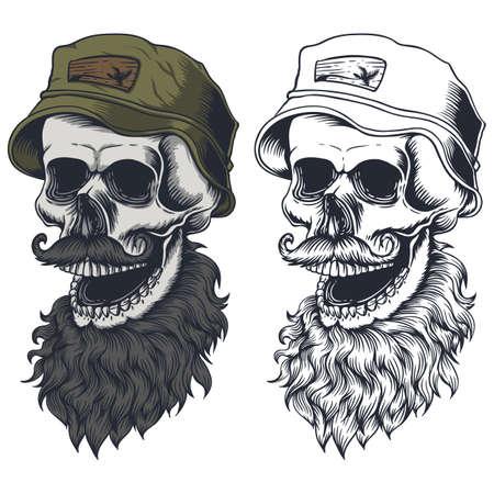 Skull beard mustache wear hat vector illustration for your company or brand