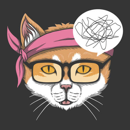 The cat doesn't understand vector illustration for your company or brand 向量圖像
