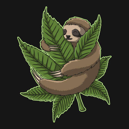 Sloth Hug Weed vector illustration for your company or brand 向量圖像