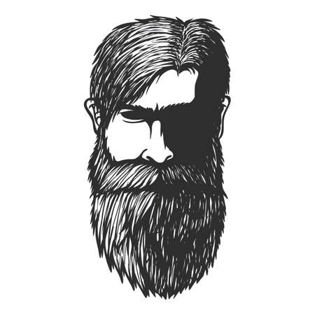 Mustache and beard man Head hand drawn vector illustration for your company or brand