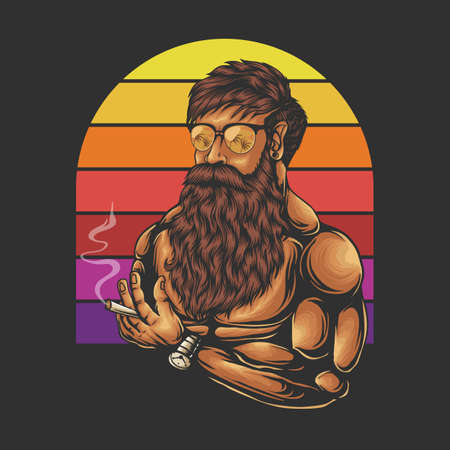 Mustache and beard man Head Retro vector illustration for your company or brand