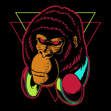 Gorilla headphone vector illustration for your company or brand 向量圖像