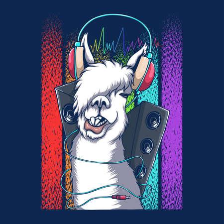 Llama headphone DJ retro vector illustration for your company or brand