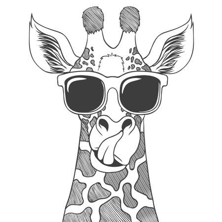 Giraffe wearing eyeglasses hand drawn vector illustration for your company or brand