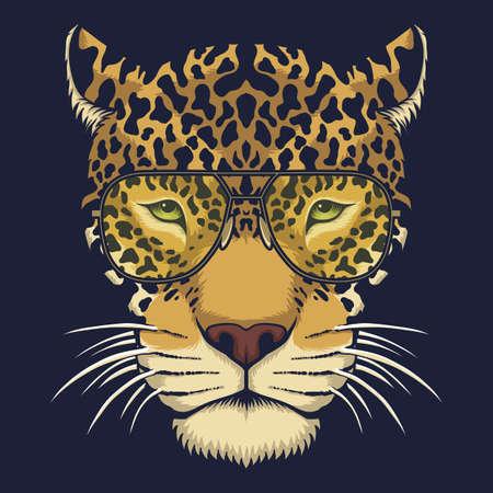 Jaguar head eyeglasses vector illustration for your company or brand 向量圖像