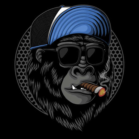 Smoked Gorilla head vector illustration for your company or brand