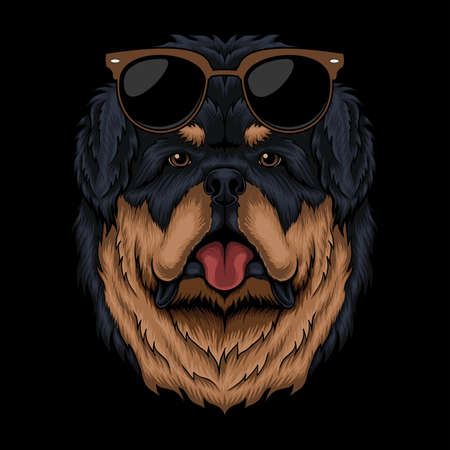 Tibetan mastiff eyeglasses retro vector illustration for your company or brand