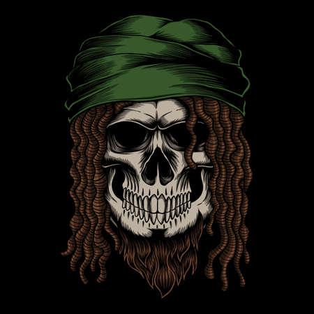 Skull dreadlocks vector illustration for your company or brand 向量圖像