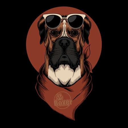 Boxer dog bandana vector illustration for your company or brand
