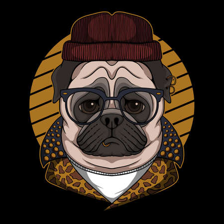 Pug dog cool vector illustration for your company or brand 向量圖像