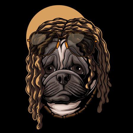 Pug dog dreadlocks hair vector illustration for your company or brand