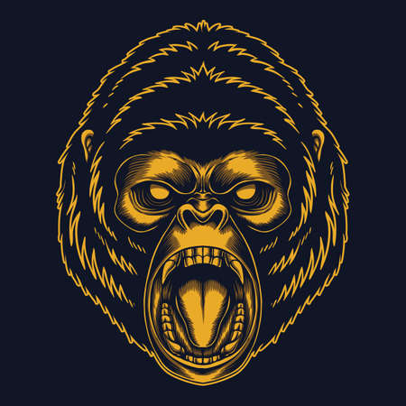 Angry gorilla gold vector illustration for your company or brand